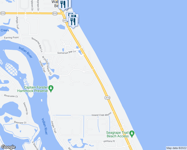 map of restaurants, bars, coffee shops, grocery stores, and more near 1215 Winding Oaks Circle East in Vero Beach