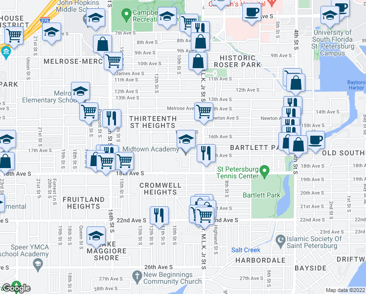 map of restaurants, bars, coffee shops, grocery stores, and more near 1030 16th Avenue South in St. Petersburg