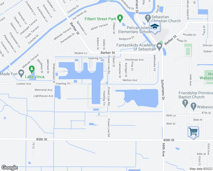 map of restaurants, bars, coffee shops, grocery stores, and more near 952 Yearling Trail in Vero Beach
