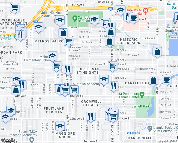 map of restaurants, bars, coffee shops, grocery stores, and more near 1150 Newton Avenue South in Saint Petersburg