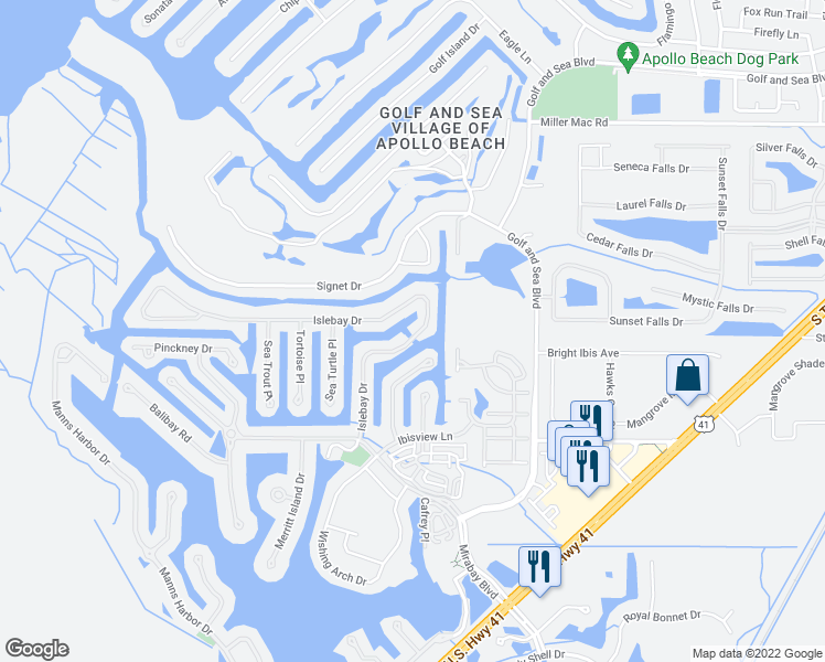 map of restaurants, bars, coffee shops, grocery stores, and more near 502 Islebay Drive in Apollo Beach