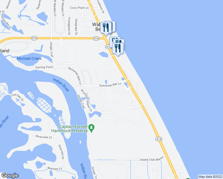 map of restaurants, bars, coffee shops, grocery stores, and more near 1187 Governors Way in Vero Beach
