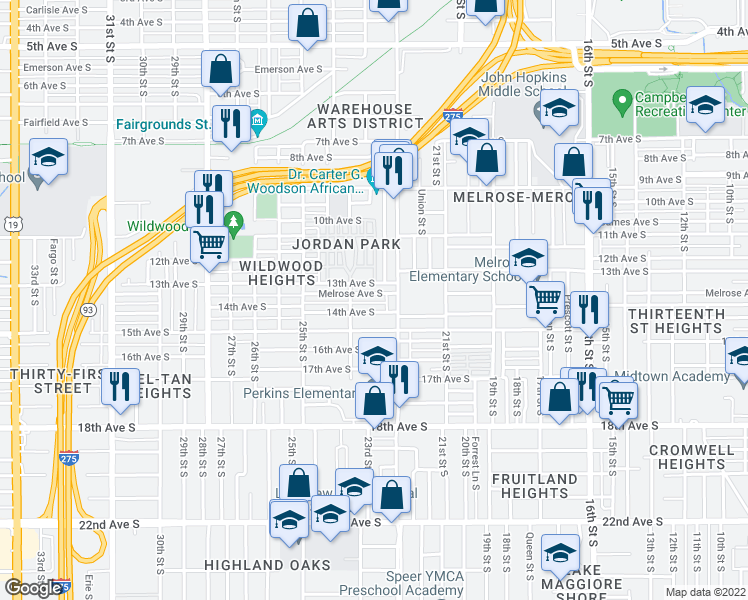 map of restaurants, bars, coffee shops, grocery stores, and more near 2244 Melrose Avenue South in St. Petersburg