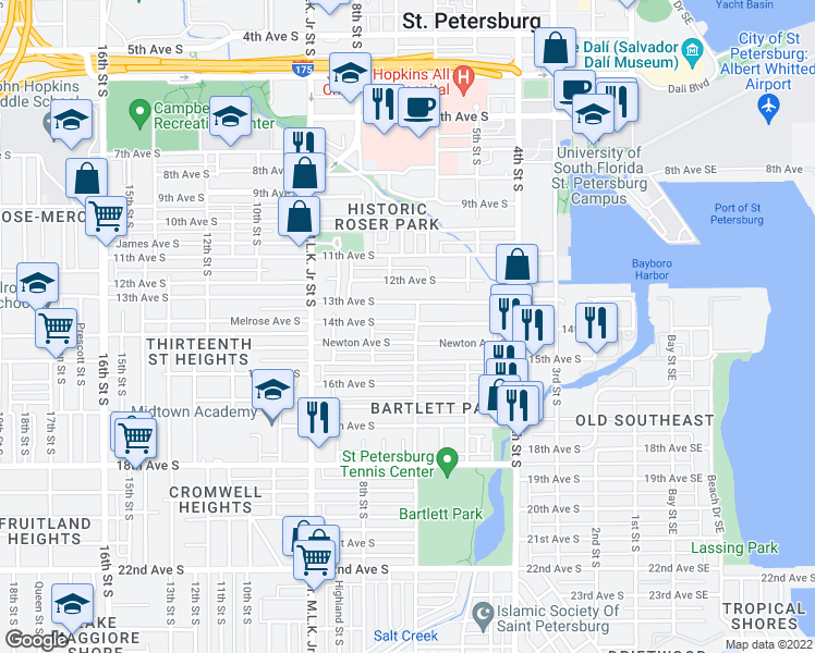 map of restaurants, bars, coffee shops, grocery stores, and more near 712 14th Avenue South in Saint Petersburg
