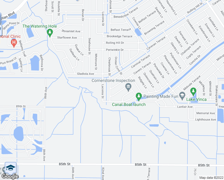 map of restaurants, bars, coffee shops, grocery stores, and more near 1564 Clearbrook Street in Sebastian