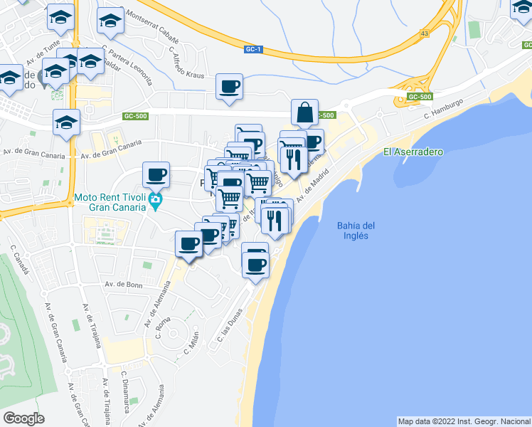 map of restaurants, bars, coffee shops, grocery stores, and more near 3-5 Avenida de Gran Canaria in Las Palmas