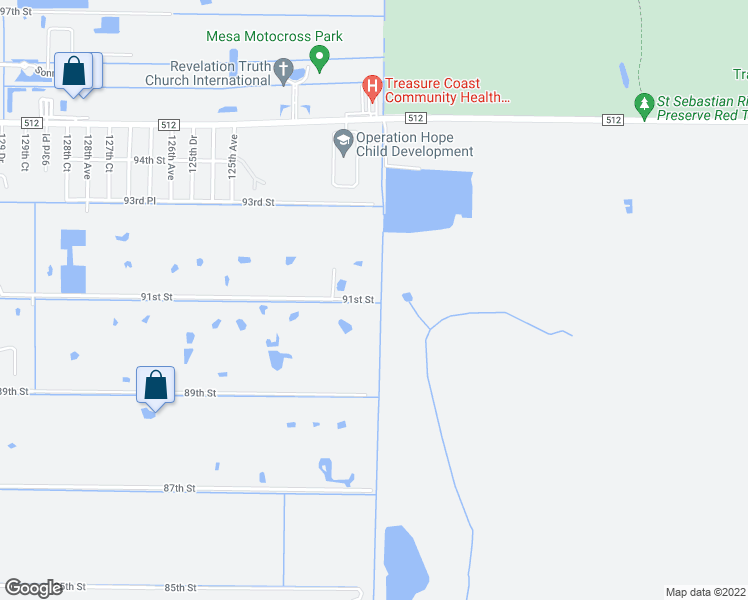 map of restaurants, bars, coffee shops, grocery stores, and more near 15255 91st Street in Fellsmere