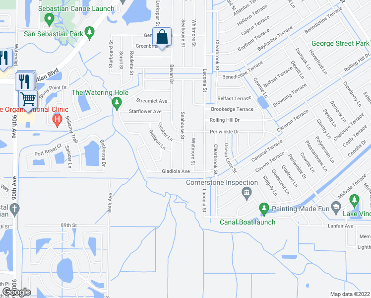 map of restaurants, bars, coffee shops, grocery stores, and more near 1642 Seahouse Street in Sebastian