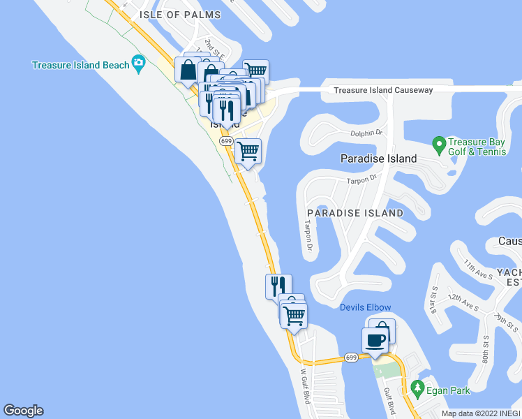 map of restaurants, bars, coffee shops, grocery stores, and more near 10265 Gulf Boulevard in Treasure Island