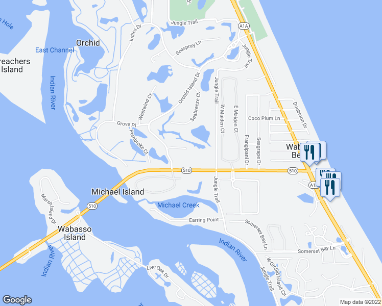map of restaurants, bars, coffee shops, grocery stores, and more near 80 Caribe Way in Orchid