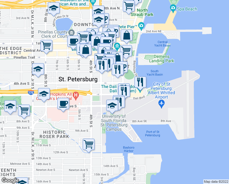 map of restaurants, bars, coffee shops, grocery stores, and more near 199 Dali Boulevard in Saint Petersburg