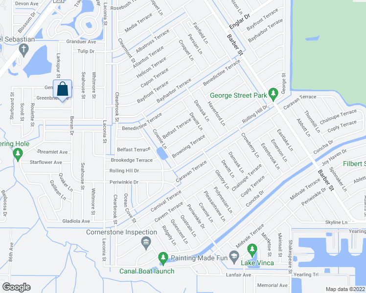 map of restaurants, bars, coffee shops, grocery stores, and more near 665 Browning Terrace in Sebastian