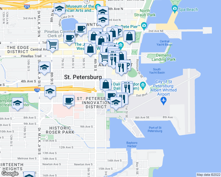 map of restaurants, bars, coffee shops, grocery stores, and more near 200-298 Delmar Terrace South in Saint Petersburg