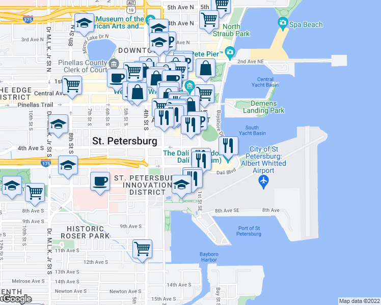 map of restaurants, bars, coffee shops, grocery stores, and more near 100 4th Avenue South in St. Petersburg