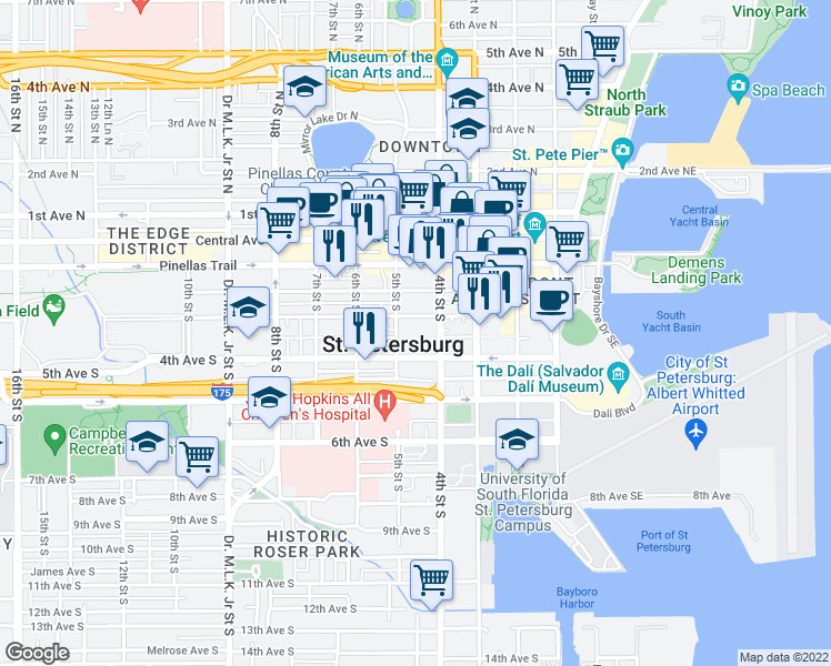 map of restaurants, bars, coffee shops, grocery stores, and more near 430 3rd Avenue South in St. Petersburg
