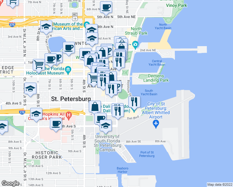 map of restaurants, bars, coffee shops, grocery stores, and more near 301 1st Street South in St. Petersburg