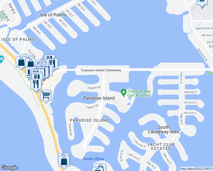 map of restaurants, bars, coffee shops, grocery stores, and more near 10355 Paradise Boulevard in Treasure Island