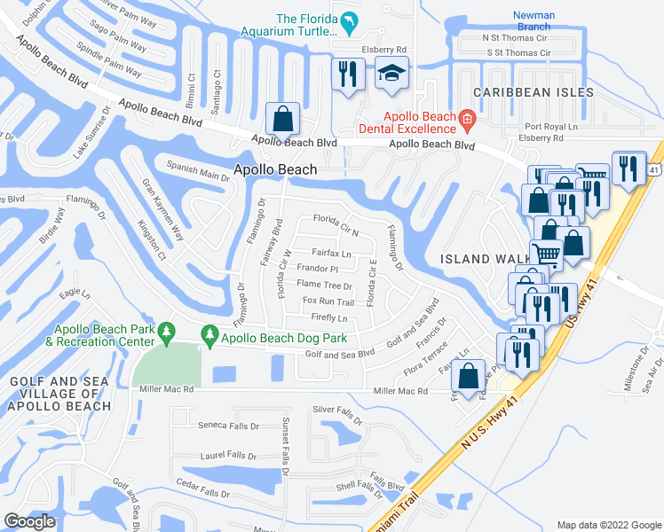 map of restaurants, bars, coffee shops, grocery stores, and more near in Ruskin