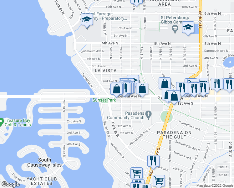 map of restaurants, bars, coffee shops, grocery stores, and more near 7321 Central Avenue in Saint Petersburg
