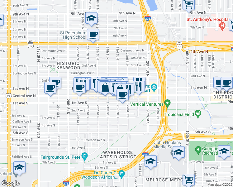 map of restaurants, bars, coffee shops, grocery stores, and more near 2311 Central Avenue in St. Petersburg
