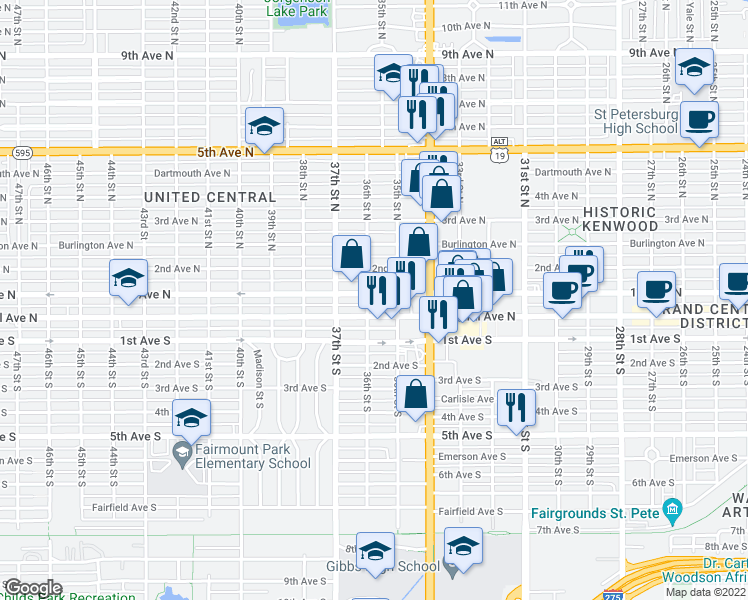 map of restaurants, bars, coffee shops, grocery stores, and more near 3545 Central Avenue in St. Petersburg
