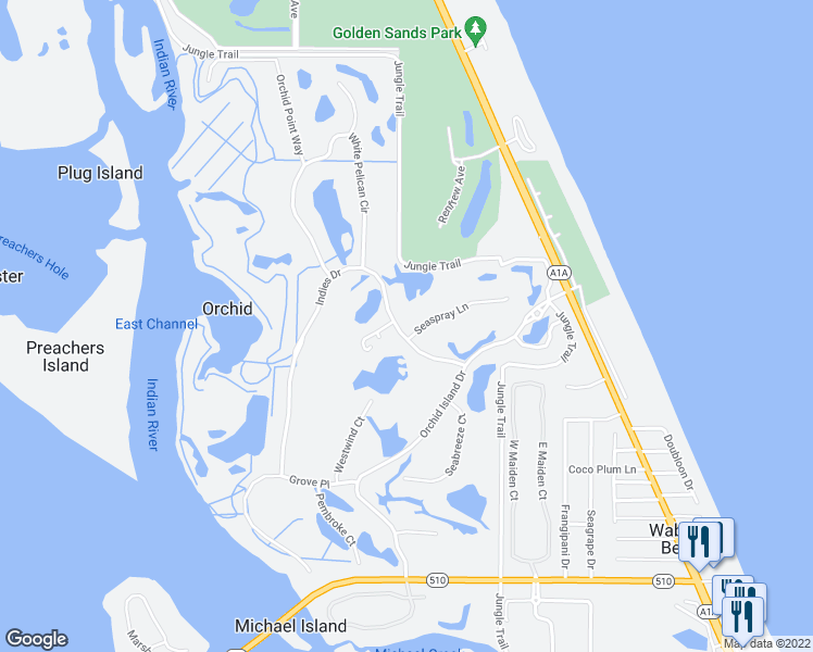 map of restaurants, bars, coffee shops, grocery stores, and more near 101 Seaspray Lane in Orchid