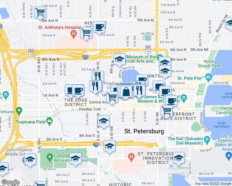 map of restaurants, bars, coffee shops, grocery stores, and more near 108 7th Street North in Saint Petersburg