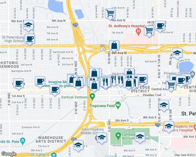 map of restaurants, bars, coffee shops, grocery stores, and more near 1710 2nd Avenue North in St. Petersburg