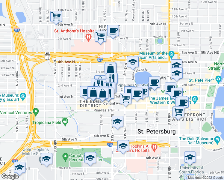 map of restaurants, bars, coffee shops, grocery stores, and more near 132 Doctor Martin Luther King Junior Street North in St. Petersburg