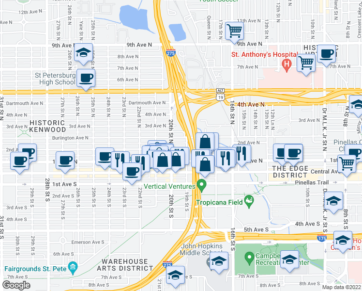 map of restaurants, bars, coffee shops, grocery stores, and more near 129 19th Street North in Saint Petersburg