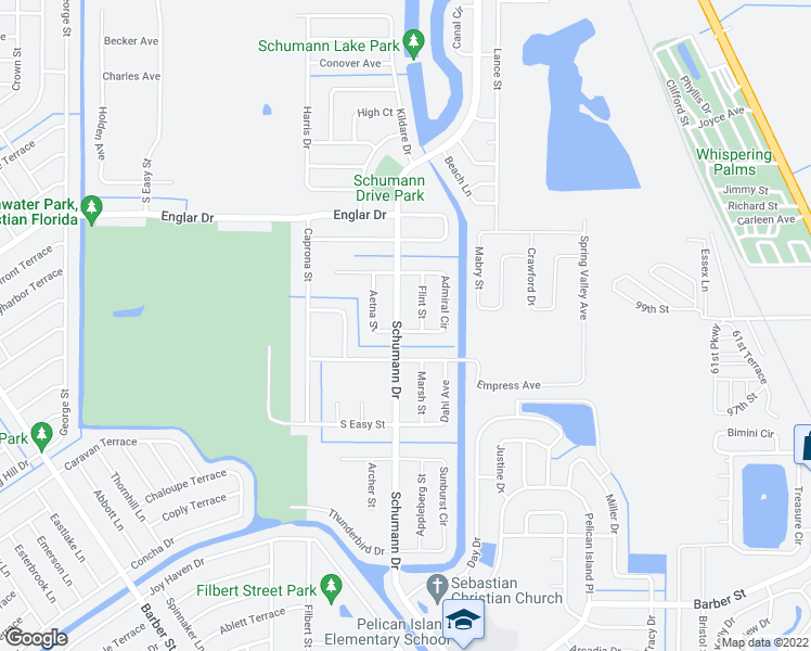 map of restaurants, bars, coffee shops, grocery stores, and more near 102 Admiral Circle in Sebastian