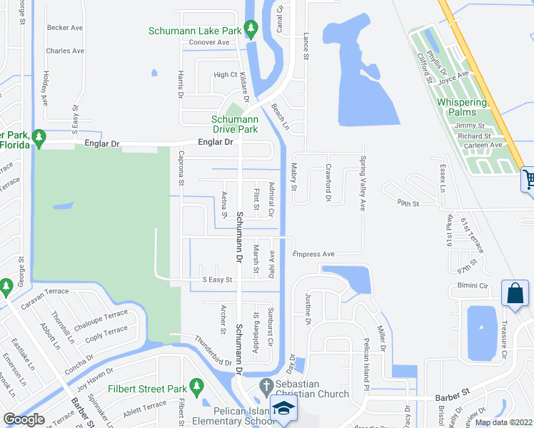 map of restaurants, bars, coffee shops, grocery stores, and more near 114 Admiral Circle in Sebastian