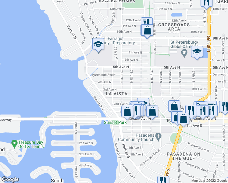 map of restaurants, bars, coffee shops, grocery stores, and more near 7438 3rd Avenue North in St. Petersburg