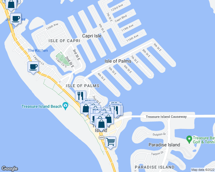 map of restaurants, bars, coffee shops, grocery stores, and more near 11240 4th Street East in Treasure Island