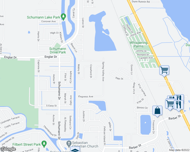 map of restaurants, bars, coffee shops, grocery stores, and more near 124 Crawford Drive in Sebastian