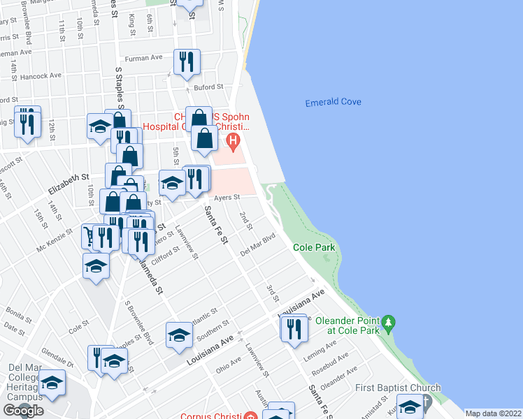 map of restaurants, bars, coffee shops, grocery stores, and more near 1519 Ocean Drive in Corpus Christi