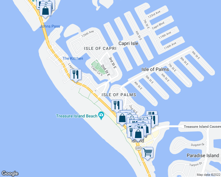 map of restaurants, bars, coffee shops, grocery stores, and more near 220 115th Avenue in Treasure Island