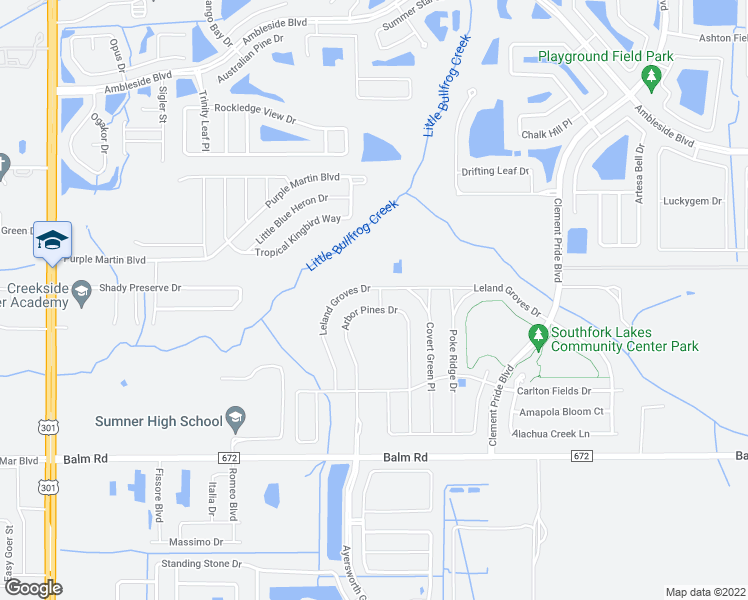 map of restaurants, bars, coffee shops, grocery stores, and more near 11126 Leland Groves Drive in Riverview