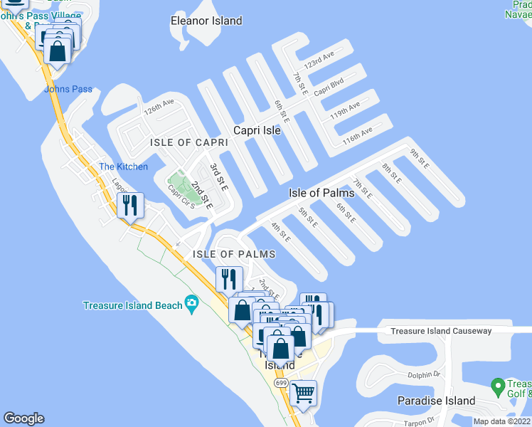 map of restaurants, bars, coffee shops, grocery stores, and more near 400 115th Ave in Treasure Island