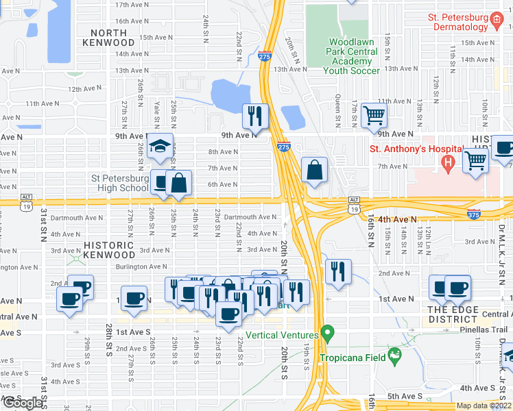 map of restaurants, bars, coffee shops, grocery stores, and more near 2110 5th Avenue North in St. Petersburg