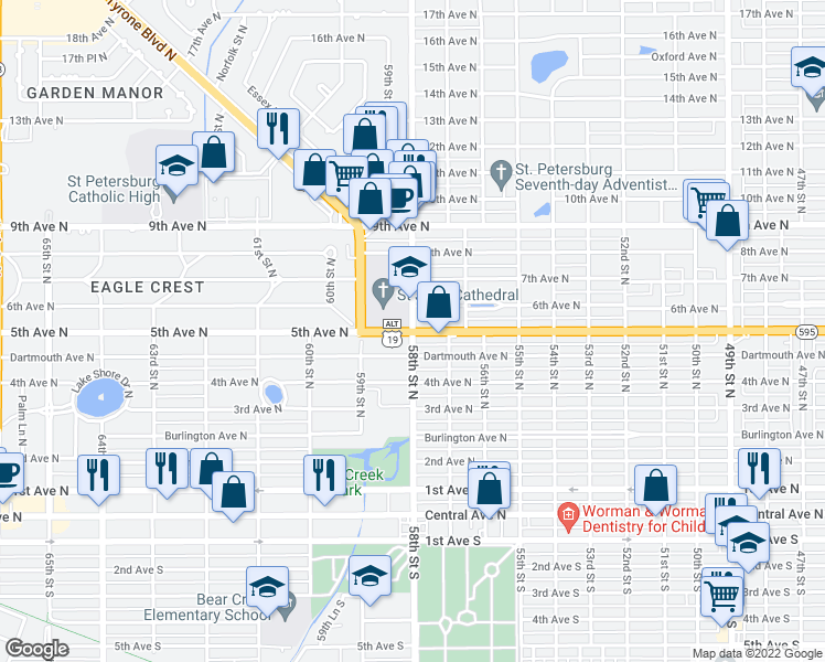 map of restaurants, bars, coffee shops, grocery stores, and more near 5th Ave N & 58th St N in Saint Petersburg