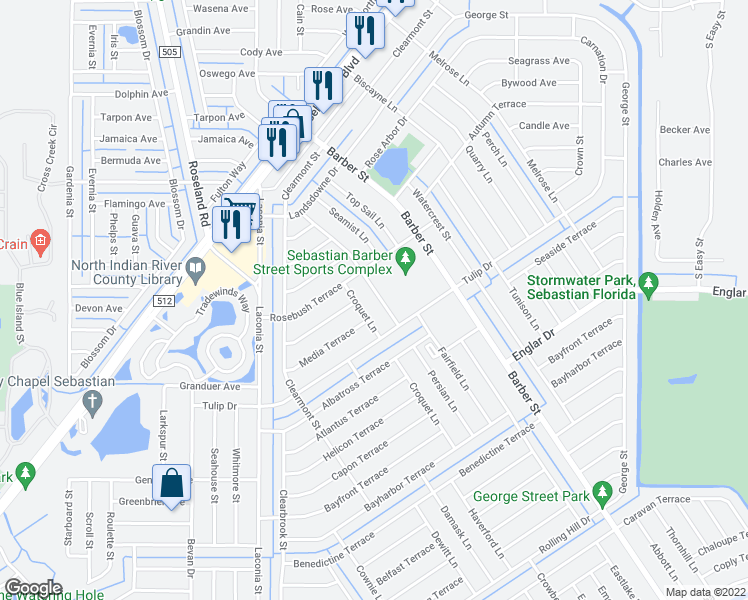 map of restaurants, bars, coffee shops, grocery stores, and more near 1071 Persian Lane in Sebastian