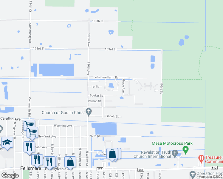 map of restaurants, bars, coffee shops, grocery stores, and more near 10072 Esperanza Circle in Fellsmere
