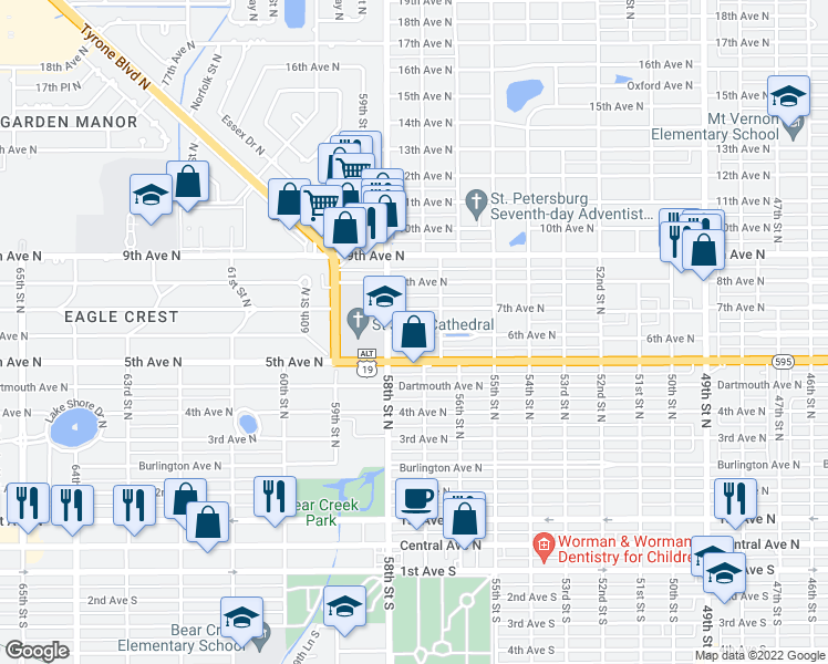 map of restaurants, bars, coffee shops, grocery stores, and more near 5701 6th Avenue North in St. Petersburg