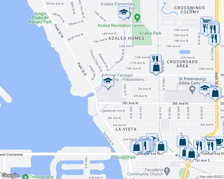 map of restaurants, bars, coffee shops, grocery stores, and more near 501 Park Street North in Saint Petersburg