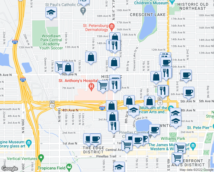 map of restaurants, bars, coffee shops, grocery stores, and more near in Saint Petersburg