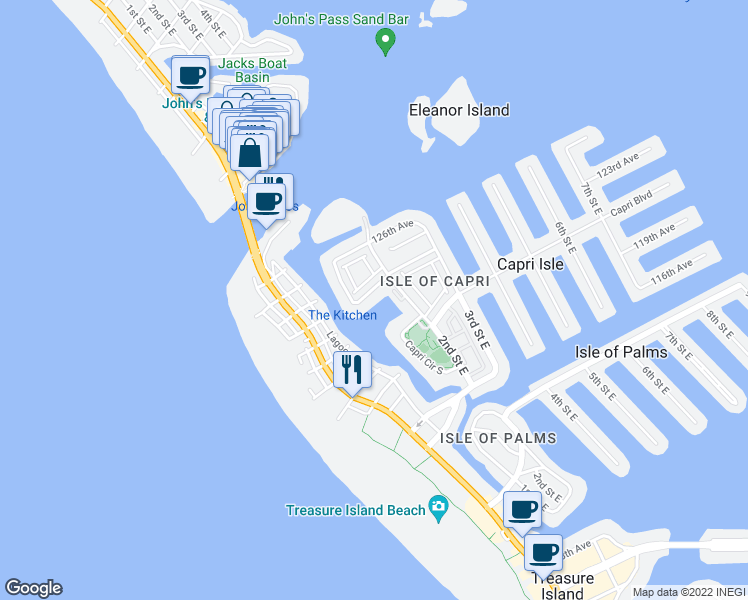 map of restaurants, bars, coffee shops, grocery stores, and more near 12242 2nd Street East in Treasure Island