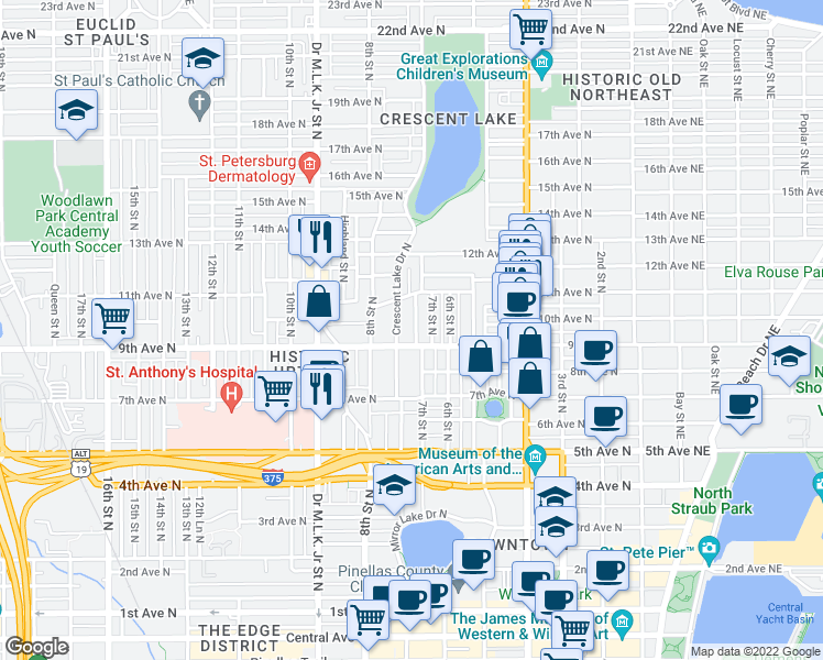 map of restaurants, bars, coffee shops, grocery stores, and more near 924 Granville Court North in Saint Petersburg