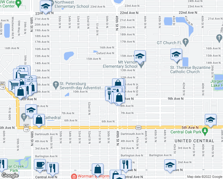 map of restaurants, bars, coffee shops, grocery stores, and more near 4931 10th Avenue North in St. Petersburg