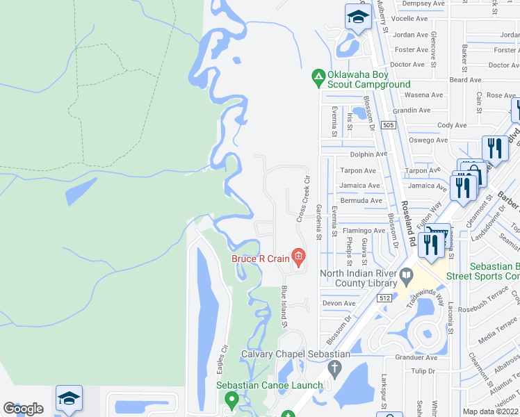 map of restaurants, bars, coffee shops, grocery stores, and more near 548 Cross Creek Circle in Sebastian